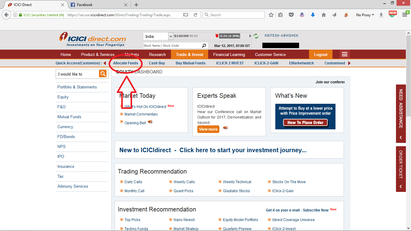 step 2 allocate funds in icici direct