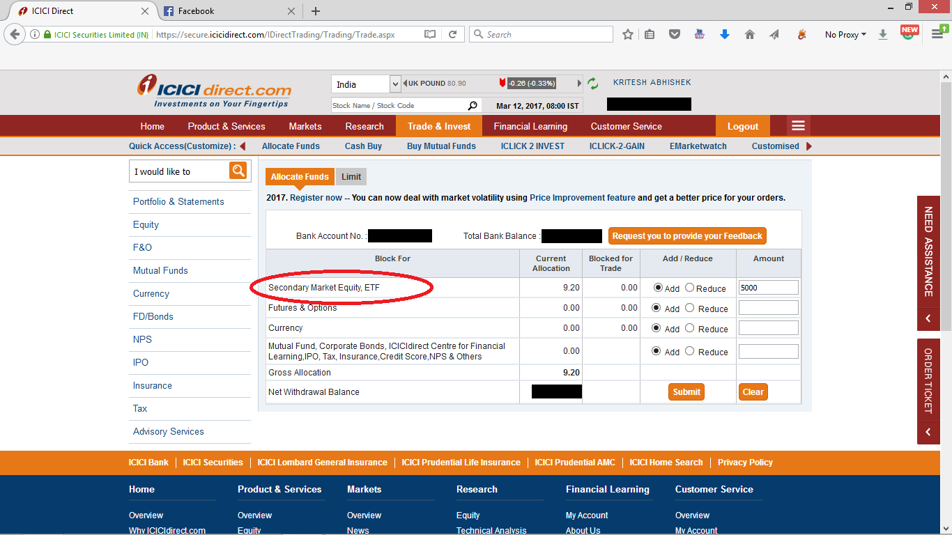 step 2 allocating fund to trade in icici direct