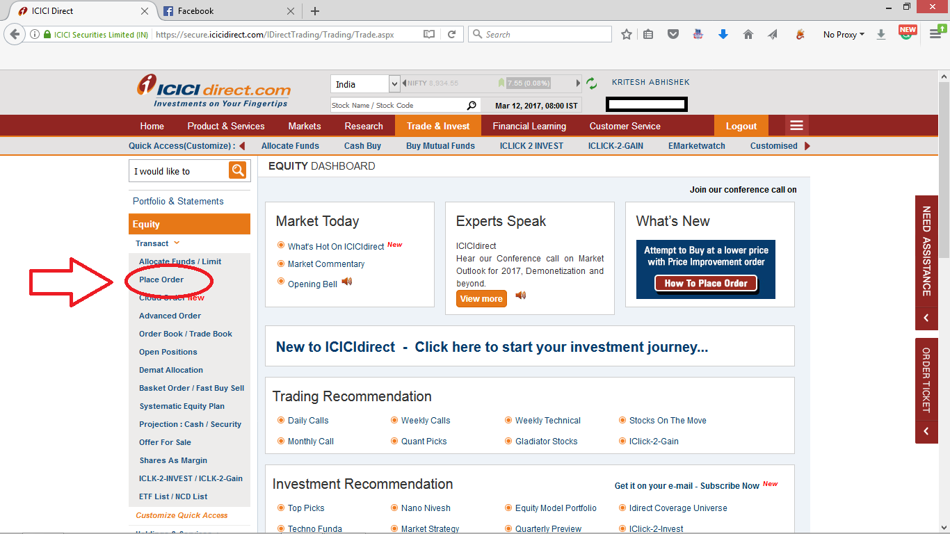 step 4 Place order for the stock icici direct