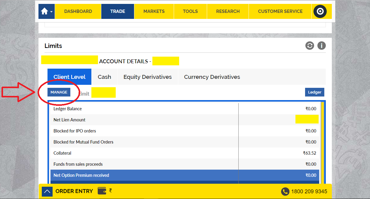 How to buy a stock using SBI demat account 4- Click on'Manage' in Limits to transfer funds.
