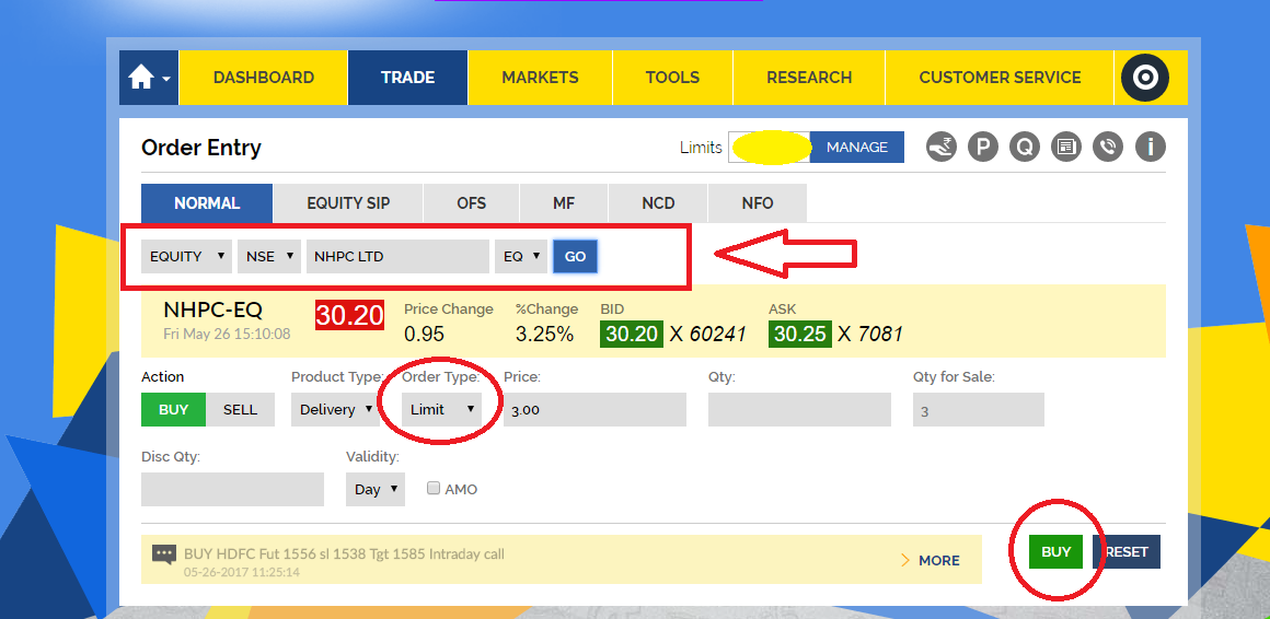 how to place order using SBI trading account