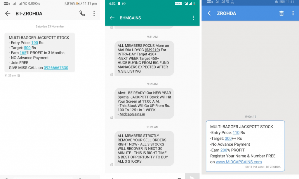 fake messages indian stock market scam