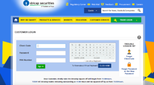 login page- demat and trading account in SBI