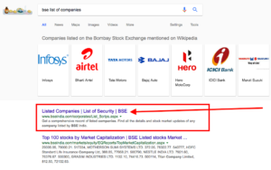 How to find complete list of stocks listed on BSE