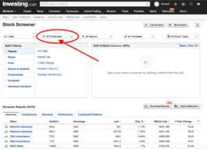 investing website stock screener