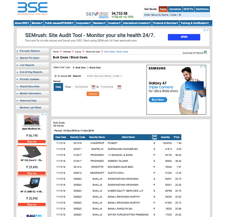 bse website bulk and block deal