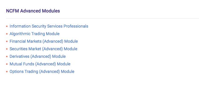 NCFM Advance Modules