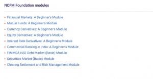 NCFM Foundation modules