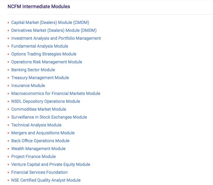 NCFM Intermediate modules