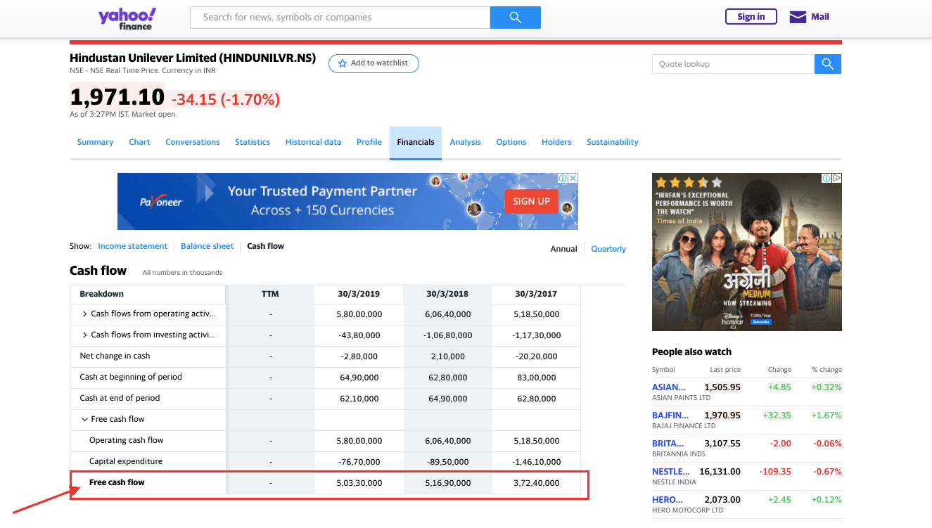 How to calculate Free cashflow FCF using yahoo finance