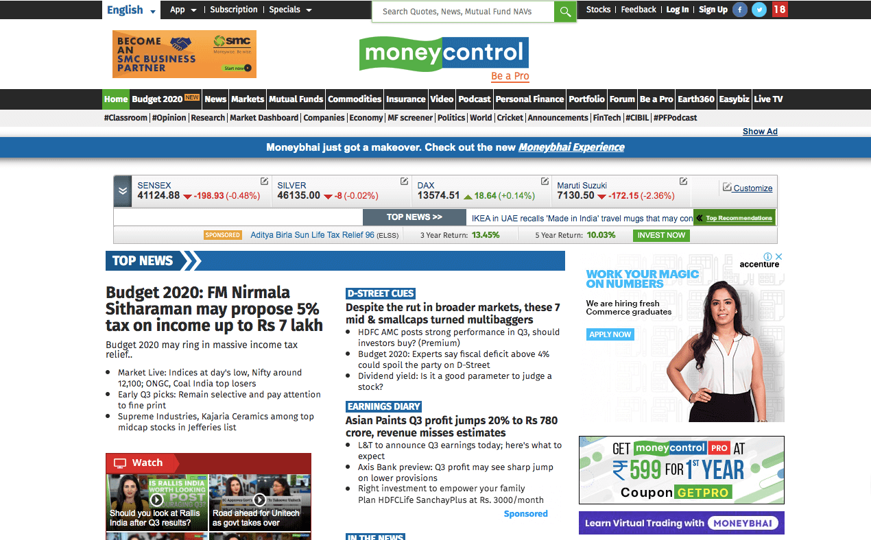 money control website 2020