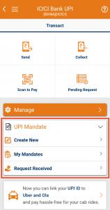 ICICI Bank UPI Mandate