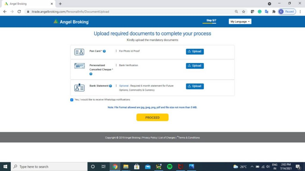 How to Open Demat Account at Angel Broking step 3