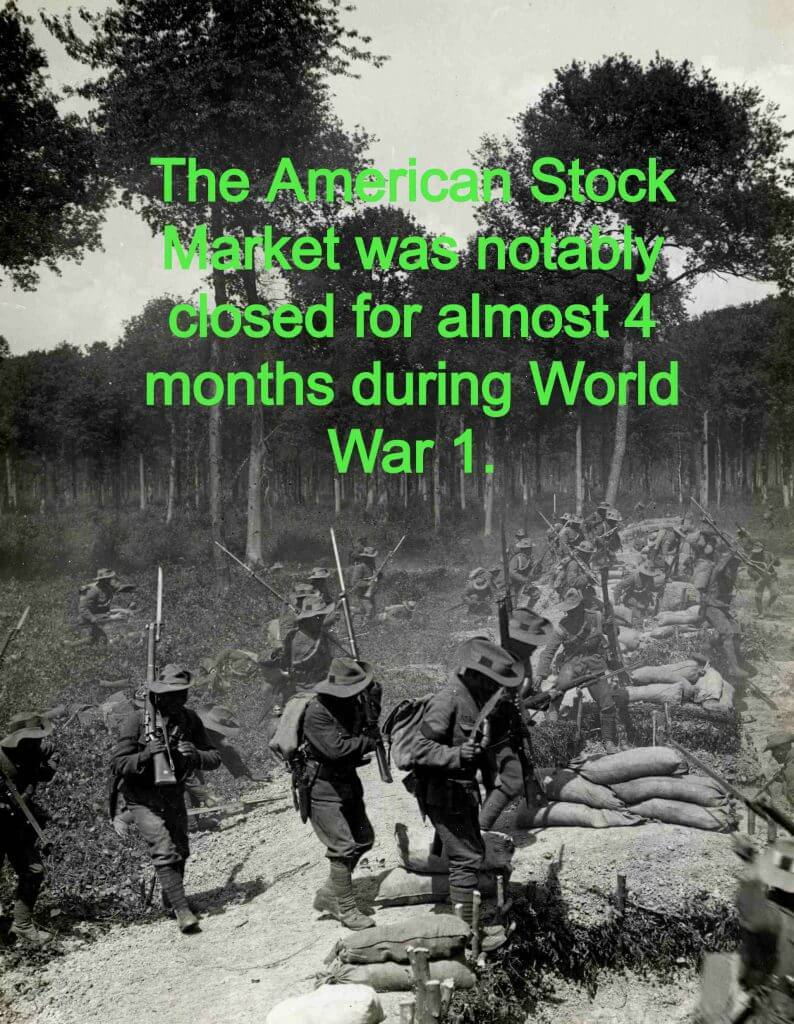 stock market closure world war 1