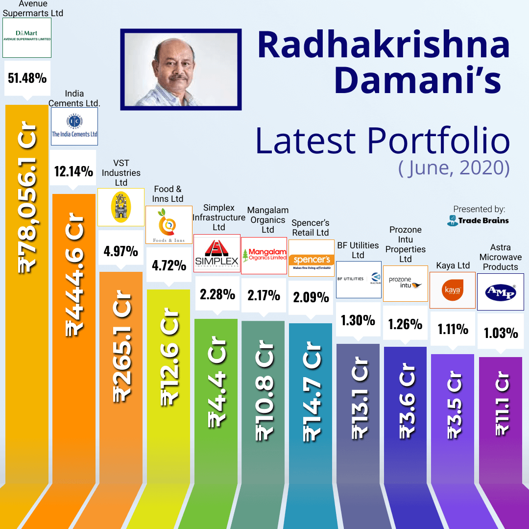 RK Damani latest stock portfolio 2020 june tradebrains