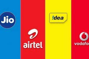 Poster showing telecom companies logo in India | Airtel vs Jio vs Vodafone-Idea