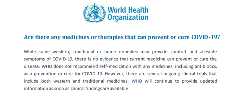 world health organization on covid drug