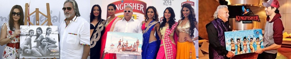 Vijay Mallya at the launch of the limited edition Kingfisher Calender. LtoR: Vijay Mallya with Preity Zinta; Models; and Enrique Iglesias