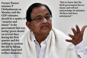 P. Chidambaram (Member of Parliament, Rajya Sabha) on Indian economy shrunk by 23.9% in 2020
