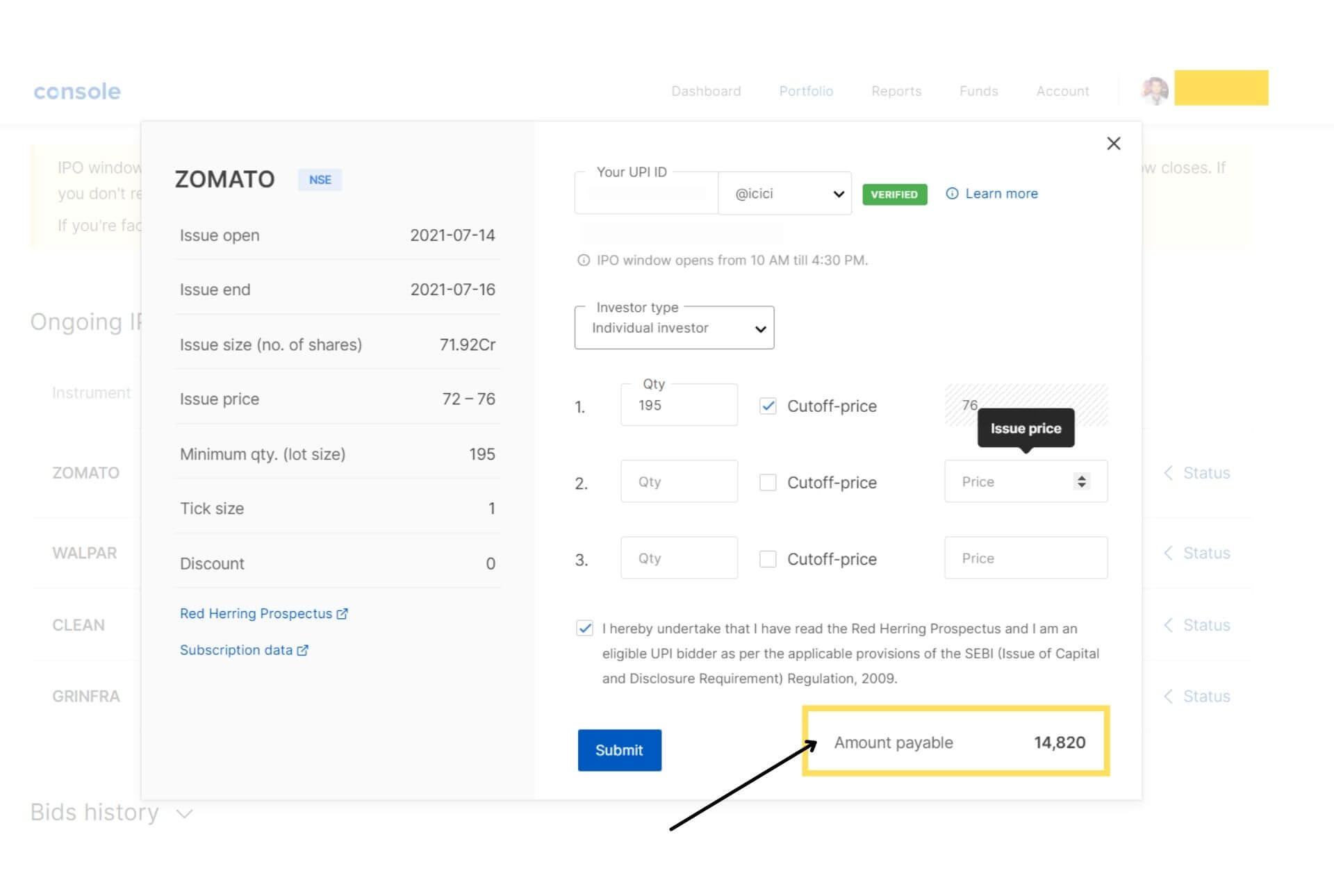 step 3 - How to apply for an IPO with ZerodhaAccount