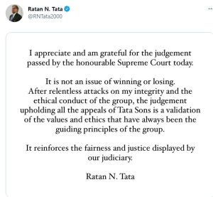 Ratan Tata's tweet after Supreme Court judgement on Tata-Mistry case