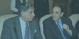 Ratan Tata with Ness Wadia during a conference