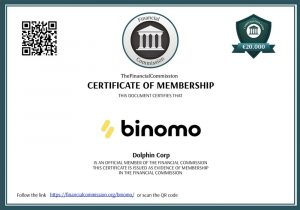 Certificate of Membbership of Binomo by The Financial Commission