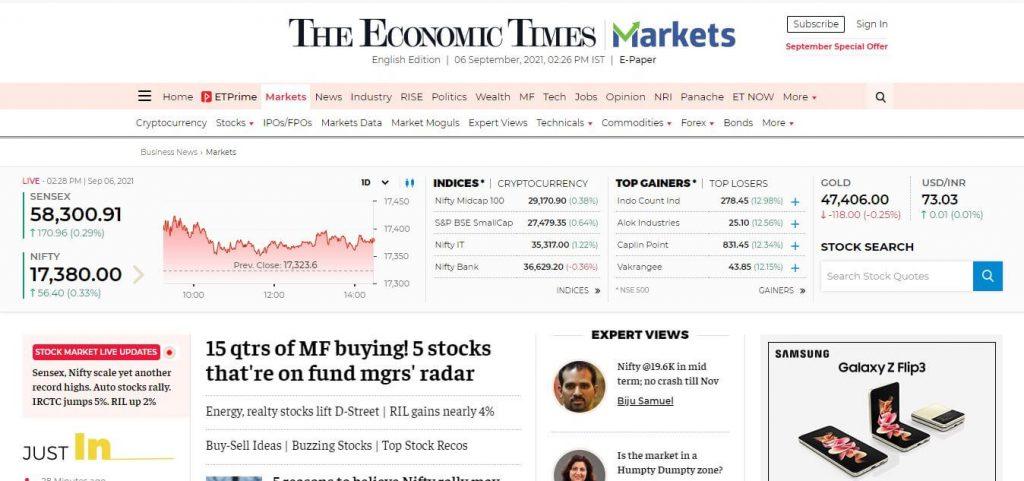 Economics Times Market Cover