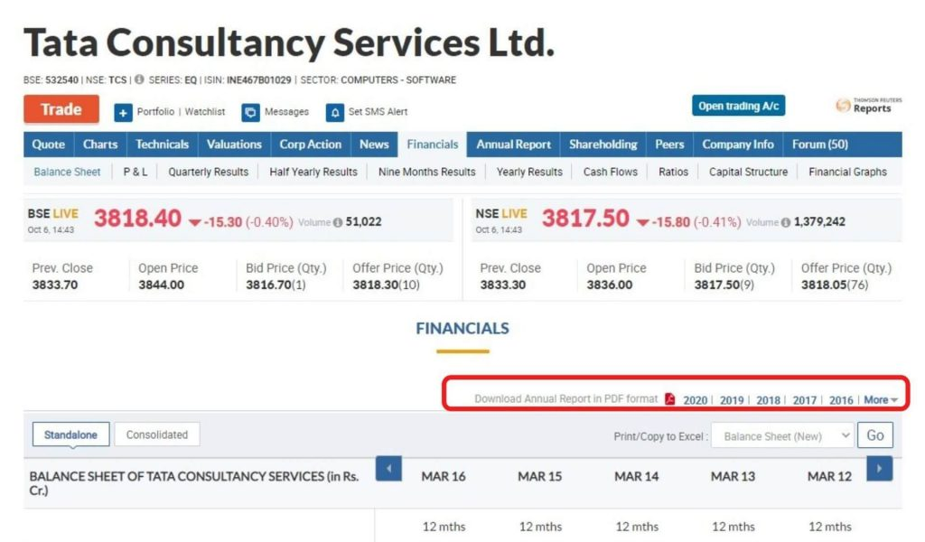 moneycontrol TCS - financial statements of Indian Companies