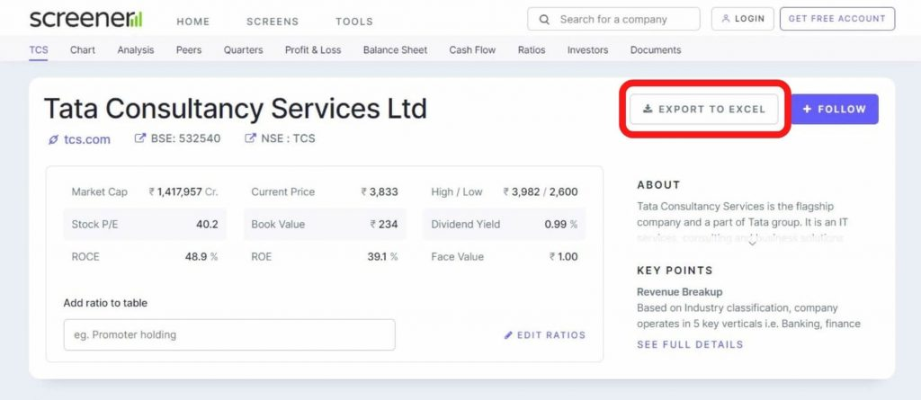 Screener Tata Consultancy Services - financial statements of Indian Companies